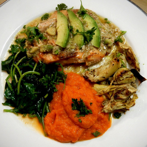 Salmon in Avocado Sauce, Carrot Puree, Sauteed Artichokes and Power Greens