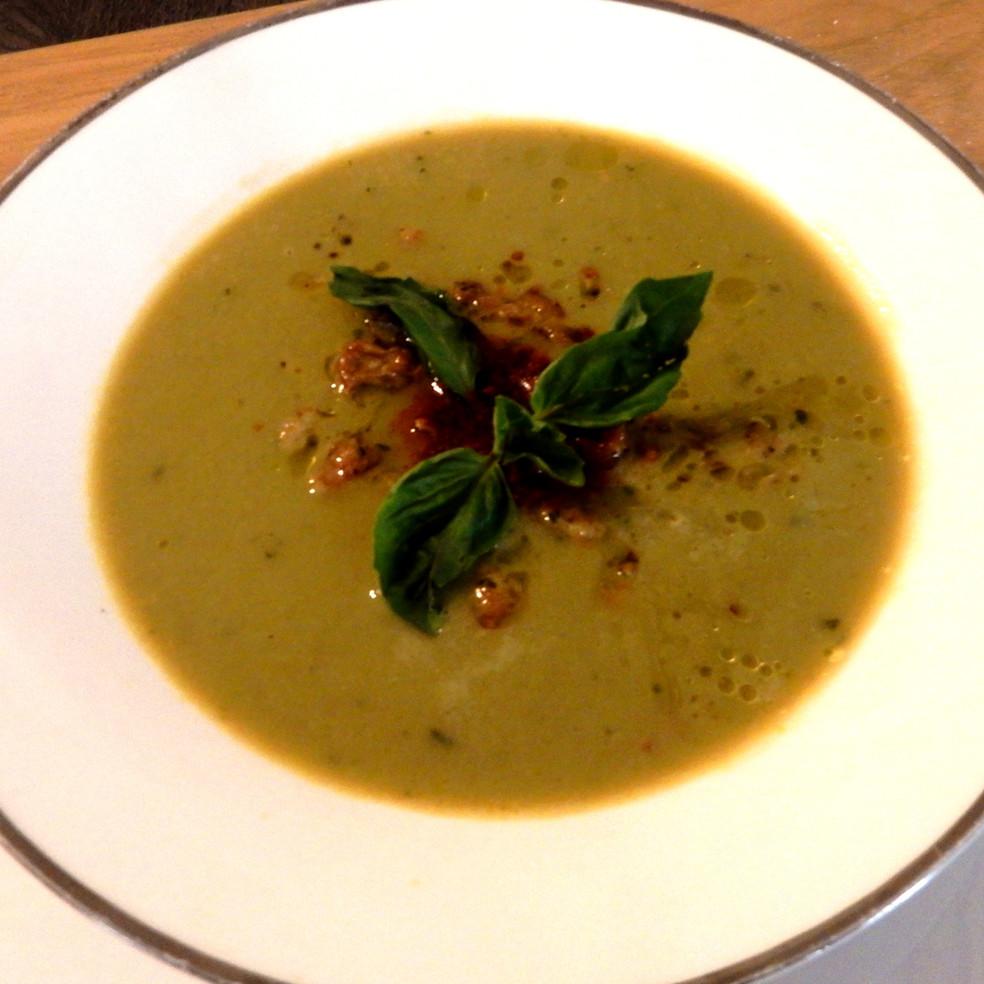 Sweet Peas-Italian Sausage-Basil Soup