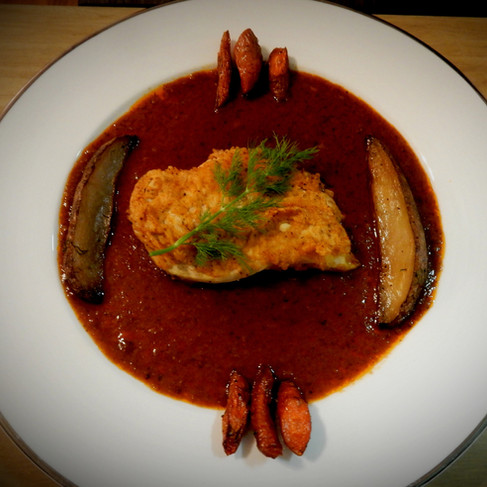 Filet of Chicken in Red Sauce, Roasted Carrots and Potatoes