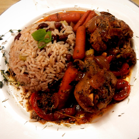 Brown Stew Chicken and Rice and Peas