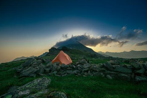 Acampamento nas montanhas