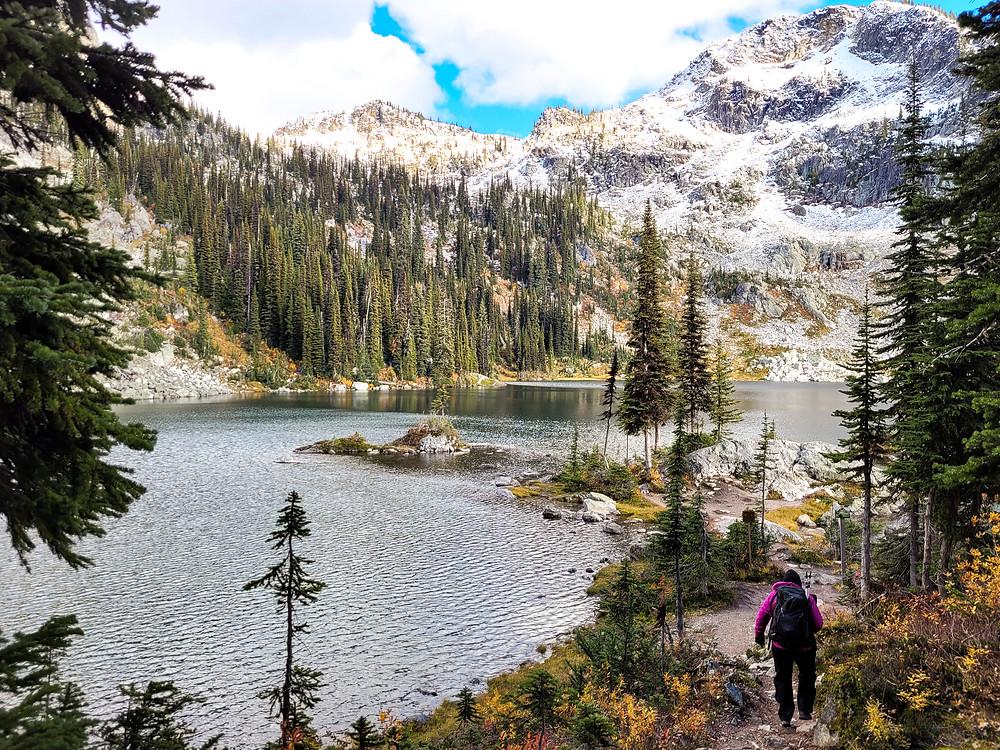 Girl walking on trail towards Miller Lake