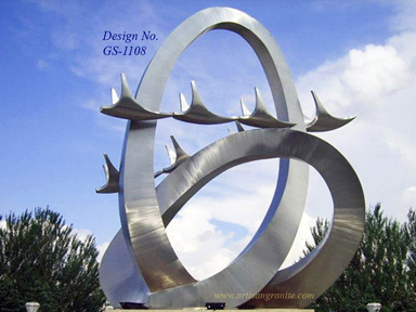 Stainless-Steel Stingray sculpture