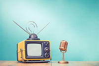 Retro old television receiver and golden