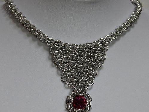 "Bright Aluminium ""Bib"" necklace in Hoodoo hex weave"
