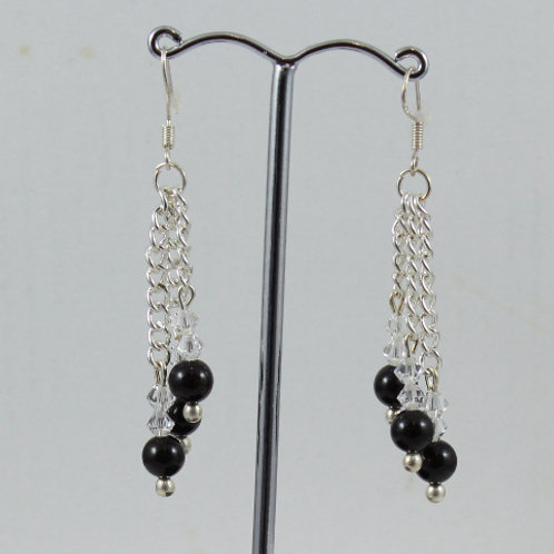Onyx triple drop earrings