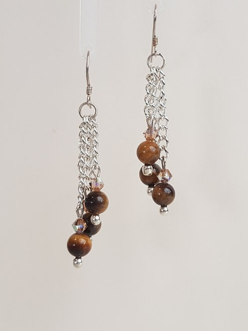 3 Drop Fossel Jasper Earring