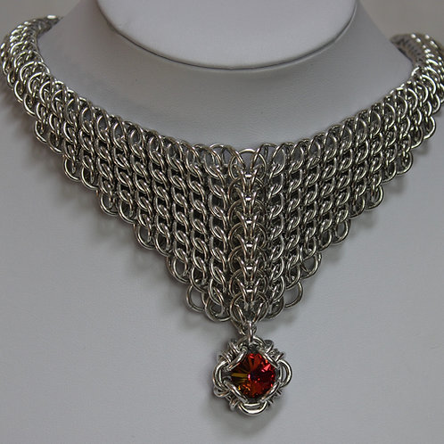"Bright Aluminium ""Bib"" necklace in GSG Sheet weave"