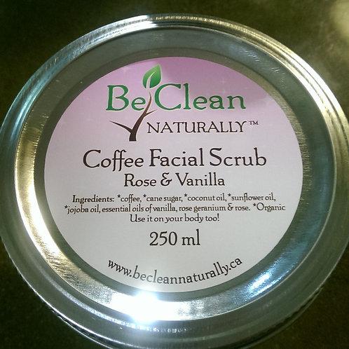 Coffee Facial Scrub 250ml Rose & Vanilla