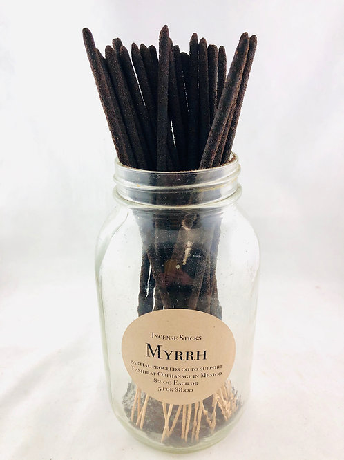 Hand rolled Myrrh Incense Individual Sticks