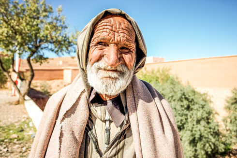 Farmer in village, Morocco