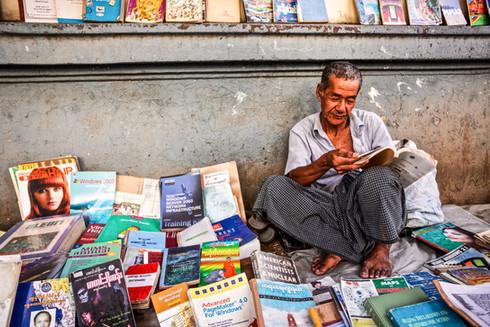 Book street seller in Yangon, Myanmar