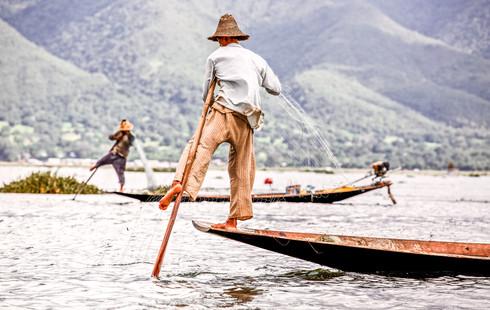 Balancing fishermen at Inle Lake, Myanmar