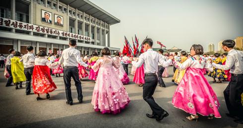Mass dancing in Pyongyang, North Korea