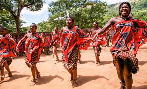 Dancing Swazi tribe, Swaziland