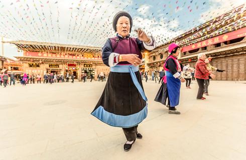 Street dance in Shangri-La, China