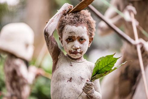 Boy of the Asaro Mudman Trip, Papua New Guinea