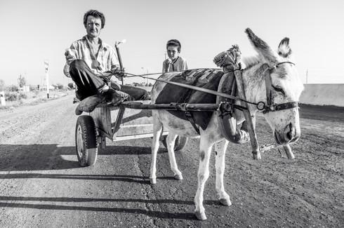 Farmers on the road, Uzbekistan