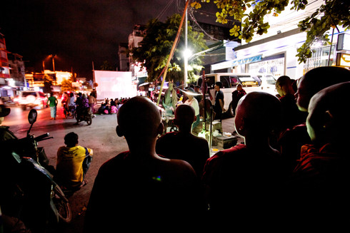 Street cinema of Mandalay, Myanmar