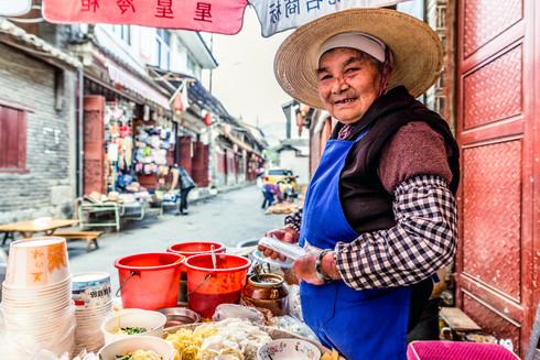 Breakfast vendor in Yunnan village, China