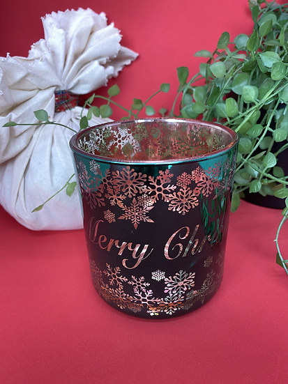 Merry Christmas Green & Rose Gold - Large Glass