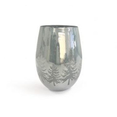 Christmas Trees - Silver Frosted - large glass
