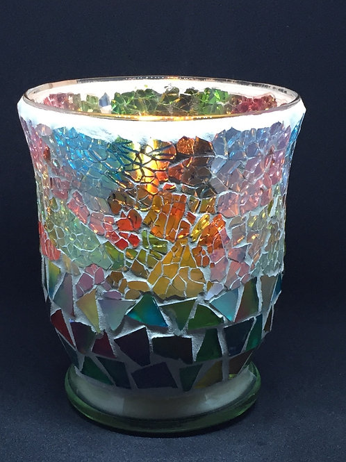 Emerald Green and Pink Kaleidoscope Crackle - Hurricane - Large