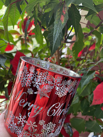 Merry Christmas Red & Silver - Large Glass
