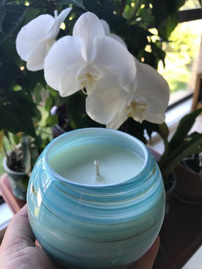 Mint Blue Swirl Globe Glass