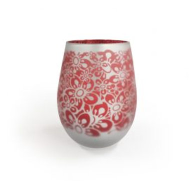 Frosted Floral Red - Large glass