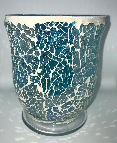 Aqua Azure Hurricane Mosaic ~Large Glass