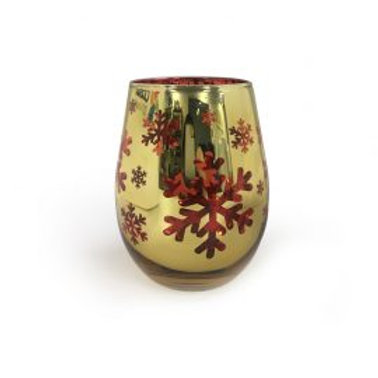 Gold & Red Electroplated Snowflakes - Large Glass - Festive