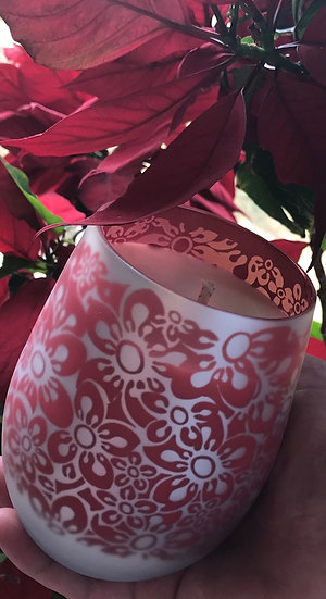 Frosted Floral Red - Large glass - Stunning