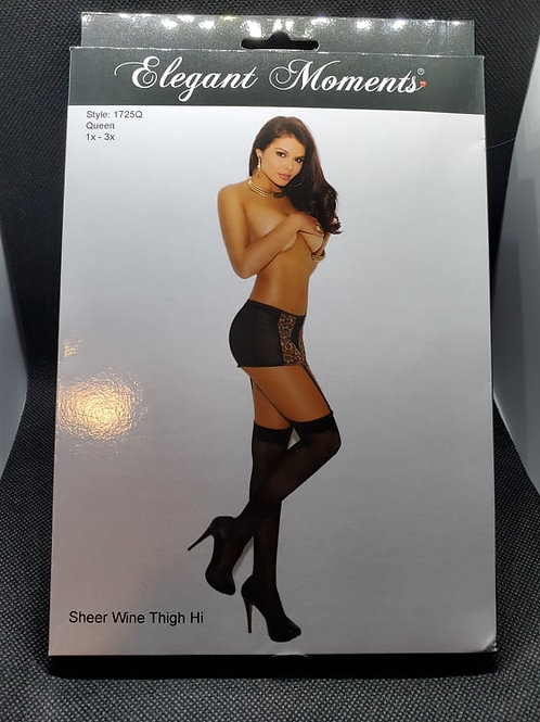 Sheer Wine Thigh Highs - Queen Size