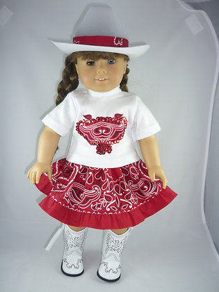 287 Red paisley skirt  and white top