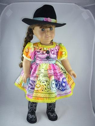 285 Vibrant multi colored western dress