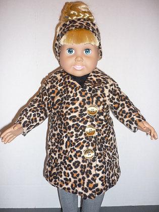 #167 Leopard Coat Set