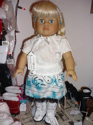 #280 Paisley Blue & White Skirt