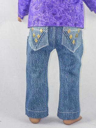 Denim Diamond in Gold Jeans