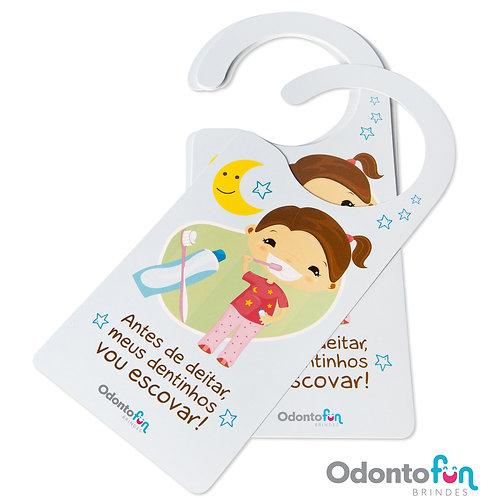 Aviso de porta - Escovação noturna menina (pacote com 20 unidades)
