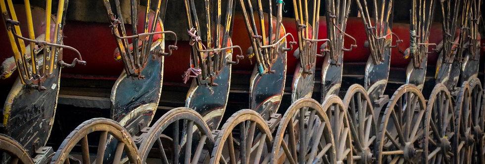 abandoned rickshaws