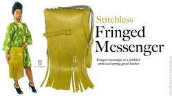 Olive Pebble-Embossed Fringed Stitch