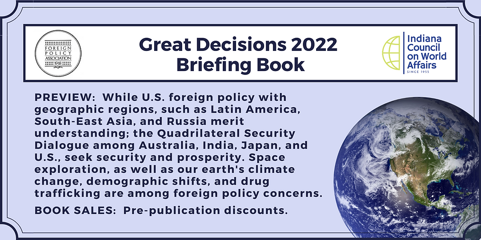Great Decisions 2022 Briefing Book ~ Pre-publication discount ~