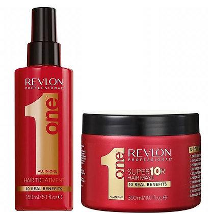 REVLON PROFESSIONAL -  PACK MASCARA + SPRAY SIN ENJUAGUE ONE HAIR TREATMENT