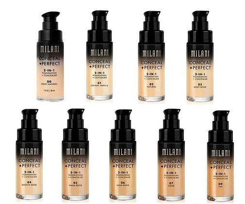 MILANI - BASE CONCEAL + PERFECT 2-IN-1 FOUNDATION + CONCEALER