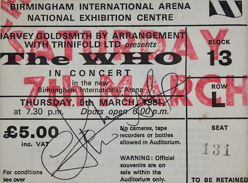 John Entwistle of The Who signed concert ticket.