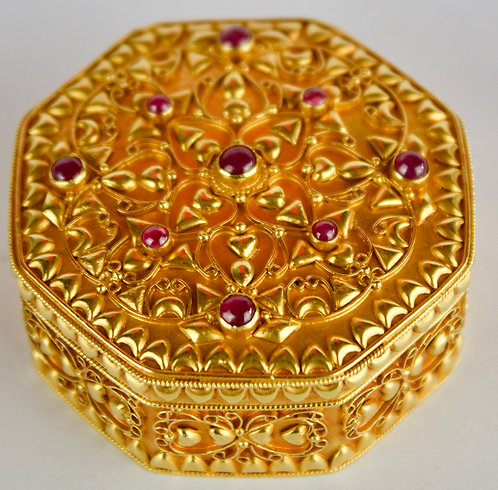 18ct Gold and Ruby Box