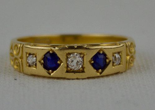 18ct diamond & sapphire ring