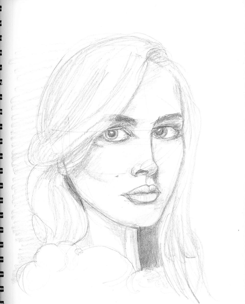 Female Portrait #1, graphite sketch