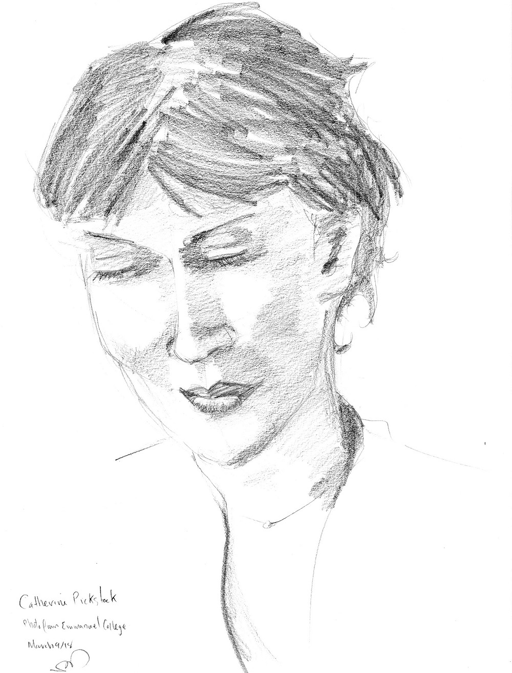 Catherine Pickstock, graphite sketch